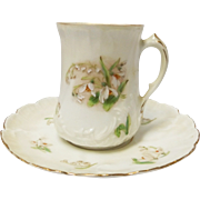 Bavarian China Hand Painted Demitasse Cup and Saucer
