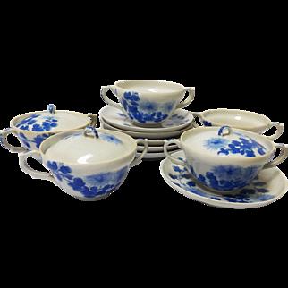 Meiji Period Japanese Porcelain Double Handled Teacup Set