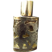 Vintage Mexican Sterling Silver Overlay Perfume Bottle