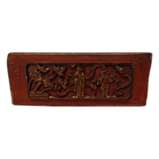 Antique Chinese Carved Balsa Wood Plaque