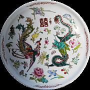 Chinese Porcelain Enameled Dragon and Phoenix Wedding Tray