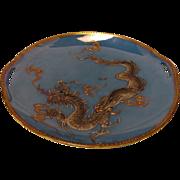 Japanese Porcelain Lusterware Gilded Moriage Dragon Platter