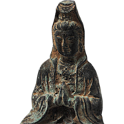 Chinese Copper Seated Praying Kwan Yin Statue