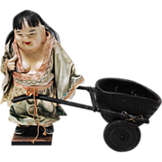 Antique Chinese Paper Mache Figure With Stoneware Cart
