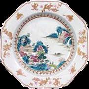 Late Kangxi Polychrome Famile Rose Octagon Soup Bowl