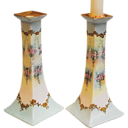Bernardaud & Co Limoges Hand Painted Candle Holders