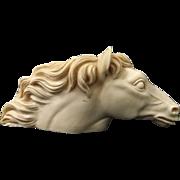 Vintage Pressed Alabaster Horse Head Pipe Holder