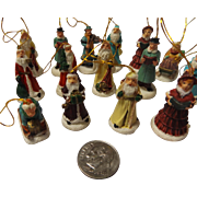 Vintage Ceramic Miniature Christmas Tree Ornament Set