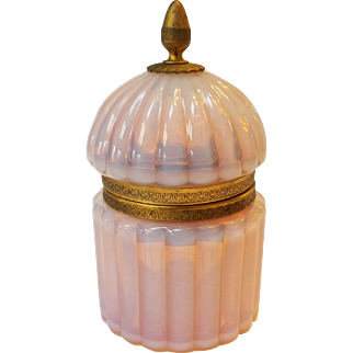Fluted Art Glass Translucent Pink Opaline Glass Inkwell