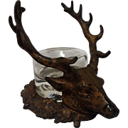 c. 1900 Cast Iron Stag Head Ink Stand and Inkwell - Red Tag Sale Item