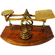 19th Century Brass and Mahogany British Postal Scale