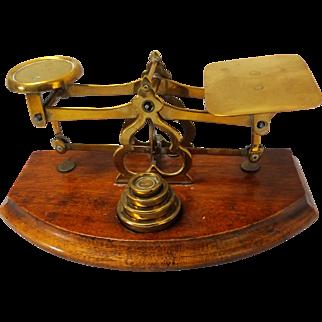 19th Century Brass and Mahogany British Postal Scale