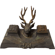 Antique Cast Bronze Stag Head Mens Double Inkwell