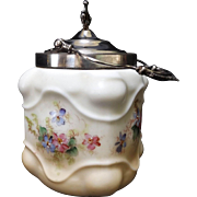 19th Century Wavecrest Style Biscuit Jar with Silver Plated Accents