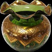 Vintage Gilded Apple Green Lobed Bohemian Glass Vase