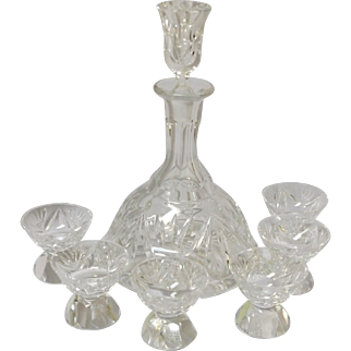 Vintage Cut Crystal Sherry Decanter and Glass Set