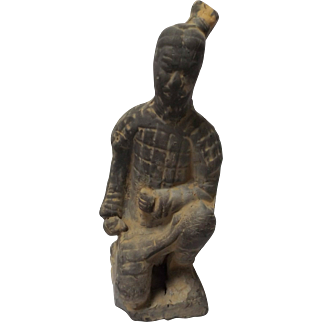 Chinese Tang Style Kneeling Warrior Statue