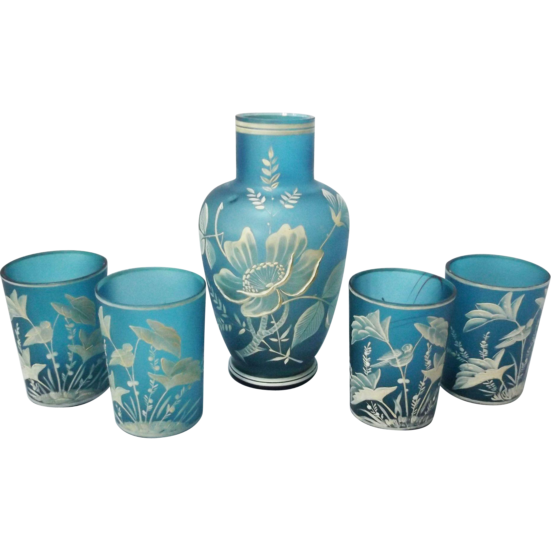Vintage Teal Bohemian Florentine Art Cameo Glass Set From