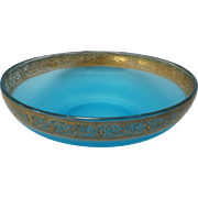 Vintage Blue Satin Glass Bowl with Gilded Thistle Border