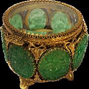 Vintage Stylebuilt Pierced Glass Panel Footed Jewelry Casket