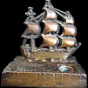 19th Century Brass Nautical Inkwell