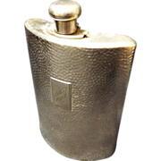 Antique Silver Plated Hammered Brass German  Hip Flask
