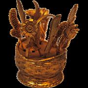 1964 Gold Tone Flower Basket Paperweight & Cocktail Fork Set