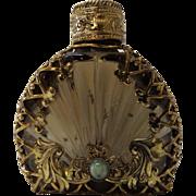 Bronze Glass Brass Filigree Wrapped Perfume Bottle
