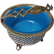 Sterling Silver Open Work Basket with Blue Opaline Glass Liner