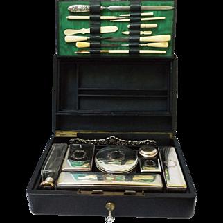 c. 1900 Midocq & Gaillard French Travel Vanity Set
