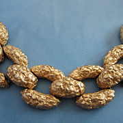 Vintage Chunky Gold Nugget Gold Tone Bracelet ~ REDUCED!