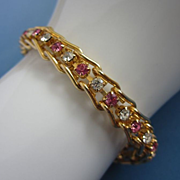 Vintage Pink and Clear Rhinestones, Gold Tone Bracelet ~ REDUCED!