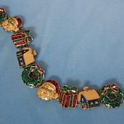 Vintage Enamel Holiday Christmas Slide Bracelet ~ REDUCED!