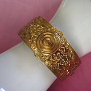 Vintage Floral Motif Brass Clamping Bangle Bracelet ~ REDUCED!