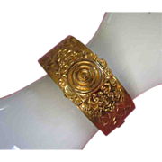 Vintage Floral Motif Brass Clamping Bangle Bracelet ~ REDUCED!