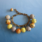 Sunset Yellow, Orange and Crackle Bead Charm Bracelet ~ REDUCED!