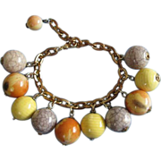 Sunset Yellow, Orange and Crackle Bead Charm Bracelet ~ REDUCED!