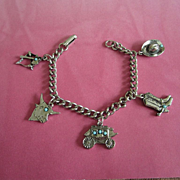 Western Themed Silver Tone Charm Bracelet ~ REDUCED!