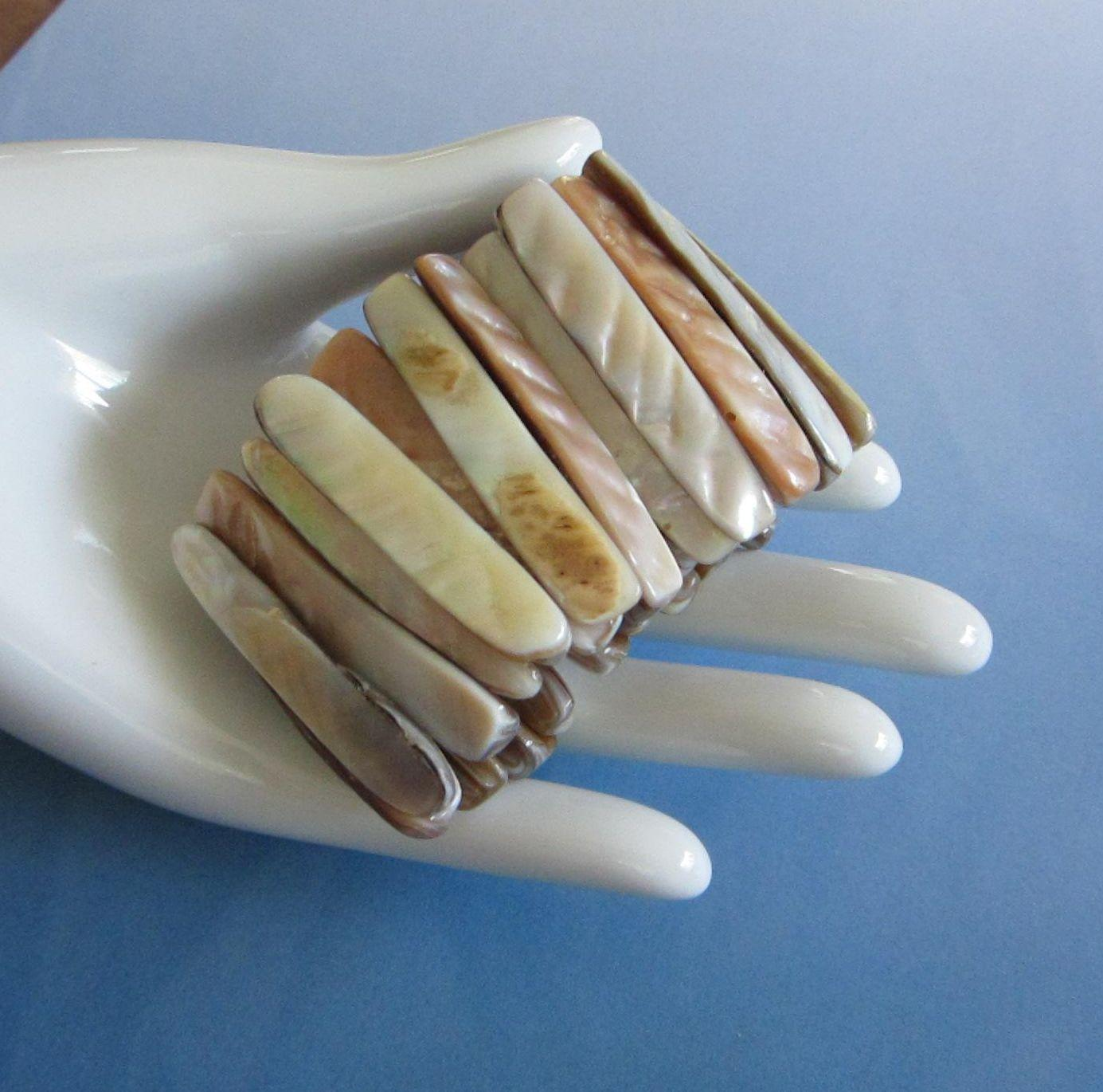Vintage Abalone Shell Wide Stretch Bracelet ~ REDUCED!!!