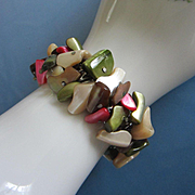 Dyed Shell Cha Cha Expansion Bracelet, Made in Japan ~ REDUCED!