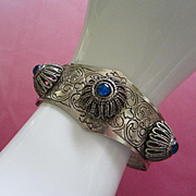 Engraved Silver Tone, Raised Floral Accents, Peacock Blue Cabochon Bracelet ~ REDUCED!