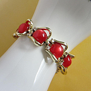 Vintage Coro Red Moonglow Lucite and Rhinestone Bracelet ~ REDUCED!