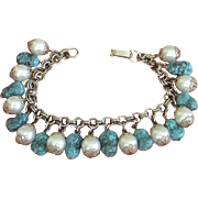 Vintage Faux Turquoise and Pearl Charm Bracelet