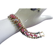 Radiant Vintage Pink Glass, AB Rhinestone Bracelet ~ REDUCED!