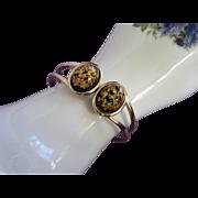 Vintage Black Gold Confetti Lucite Clamper Bracelet ~ REDUCED!