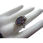 Abalone Shell Ring, Sterling Silver Shank, Adjustable