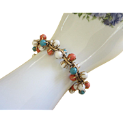 Vintage Bracelet with White, Turquoise and Coral Colored Beads ~ REDUCED!!!