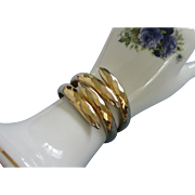 Gold Tone Clamper Bracelet with Diamond Pattern