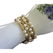 Trifari Gold Tone and Faux Pearl Bracelet