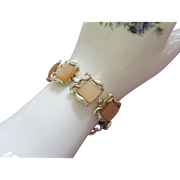 Light Caramel Moonglow Lucite and Gold Tone Bracelet